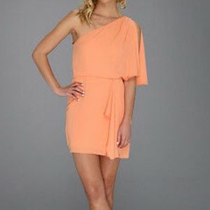 BCBGMaxAzria Mina Orange One Shoulder Mini Dress